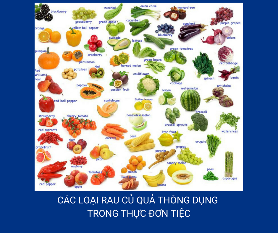 Minh hoạ: Các loại rau củ quả thông dụng trong thực đơn tiệc