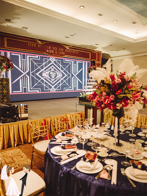 Hình ảnh minh họa trang trí tiệc cưới phong cách Gatsby
