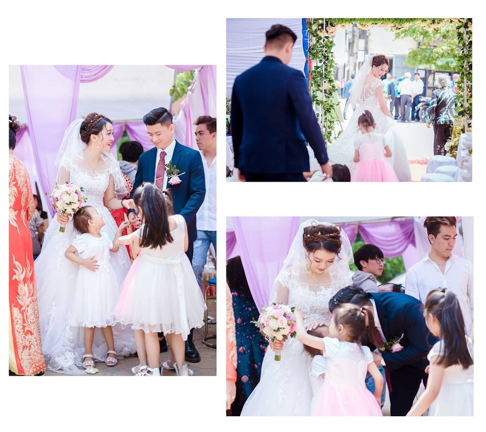 Một loạt ba bức hình về cô dâu chú rể cùng các em nhỏ phù dâu trong tiệc cưới