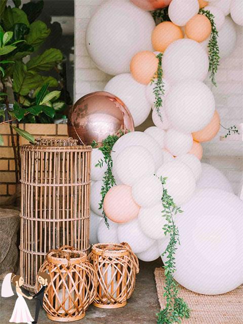 Hình ảnh minh họa trang trí tiệc cưới bằng mây tre và đay