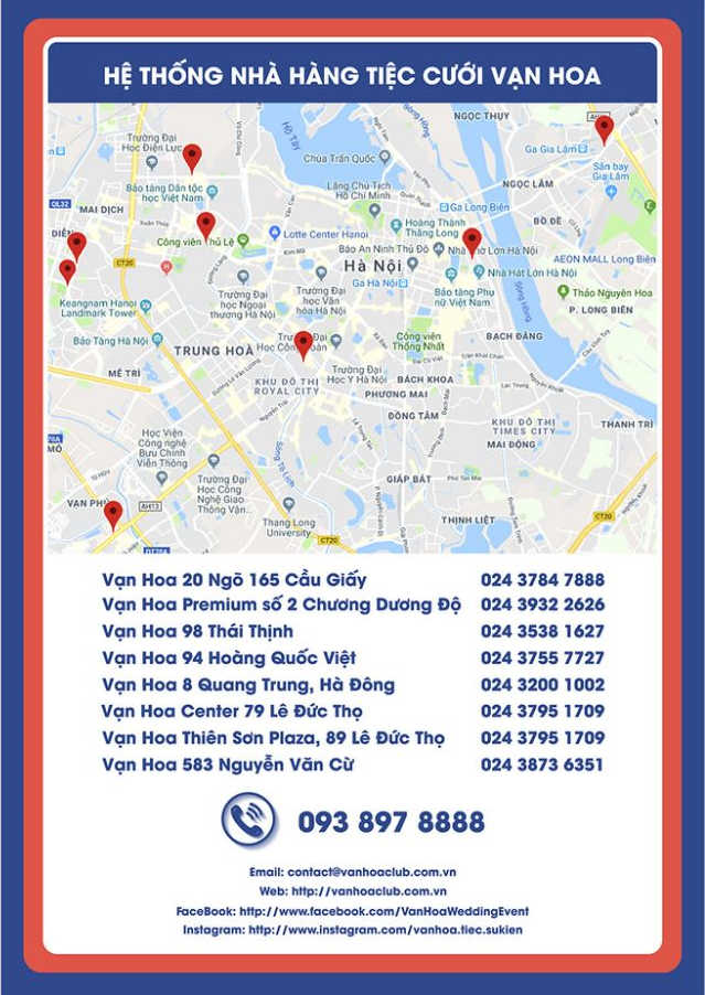 Hình ảnh bản đồ Hà Nội có đánh dấu các địa điểm thuộc hệ thống trung tâm tiệc và sự kiện Vạn Hoa năm 2019. Thông tin địa địa chỉ, điện thoại của từng trung tâm được hiển thị đầy đủ.